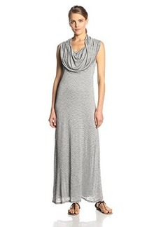 Kensie Women's Streaky Slub Jersey Maxi Dress