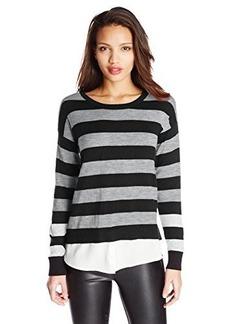 Kensie Women's Striped Twofer Sweater