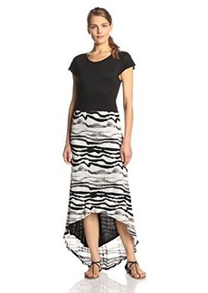Kensie Women's Watercolor Stripes Maxi Dress
