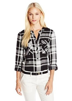 Kensie Women's Yarn Dyed Plaid Shirt
