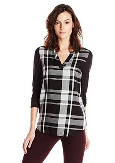 Kensie Women's Yarn Dyed Plaid Top