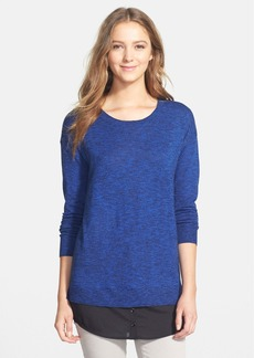 kensie Woven Inset Speckled Mélange Sweater
