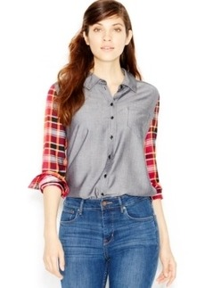 kensie Yarn-Dyed Plaid Contrast Shirt