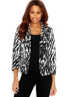 kensie Zebra-Print Two-Button Blazer