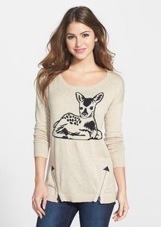 kensie Zip Detail Deer Pattern Sweater