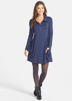 kensie Zip Placket French Terry Dress