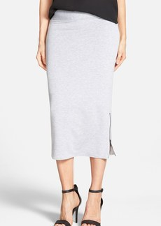 kensie Zip Vent Drapey French Terry Midi Skirt