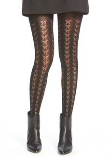 kensie Butterfly Pattern Open Knit Tights