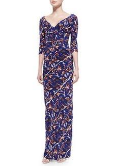 3/4-Sleeve Torn Flowers-Print Maxi Dress   3/4-Sleeve Torn Flowers-Print Maxi Dress