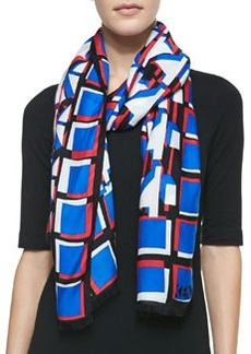 3D Geometric-Print Scarf, Black/Blue/Red   3D Geometric-Print Scarf, Black/Blue/Red
