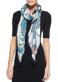Fish-Print Square Scarf, White/Multicolor   Fish-Print Square Scarf, White/Multicolor