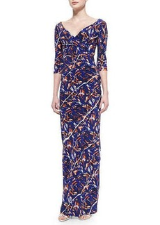 Kenzo 3/4-Sleeve Torn Flowers-Print Maxi Dress  3/4-Sleeve Torn Flowers-Print Maxi Dress