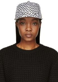 Kenzo Black & White Chevron Print Broken Floor Cap