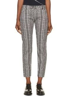 Kenzo Black & White Cotton Twill Neon Plaid Jeans