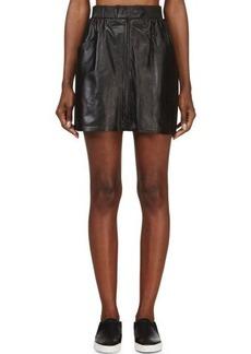 Kenzo Black Leather Zipped Skirt