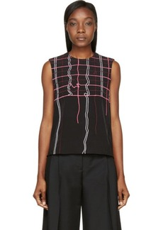 Kenzo Black Neon Degraded Plaid Embroidered Top