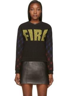 Kenzo Black Wool Felt Argyle Raglan Fire Sweater
