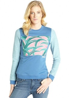 Kenzo blue cotton palm leaf embroidered sweatshirt
