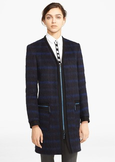 KENZO Brushed Wool Blend Plaid Coat