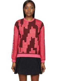 Kenzo Burgundy & Fuchsia Embroidered Sweater