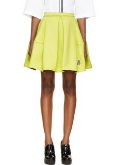 Kenzo Chartreuse Pleated A-Line Skirt