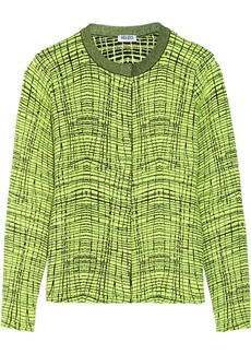 KENZO Crosshatch-intarsia cotton-blend cardigan