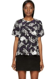 Kenzo Dark Purple Monster Print Silk Blouse