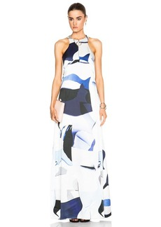 KENZO Paper Print Silk Satin Long Dress