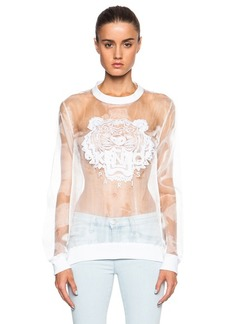 """KENZO <div class=""""product_name"""">Solid Embroidered Organza Tiger Sweatshirt</div>"""