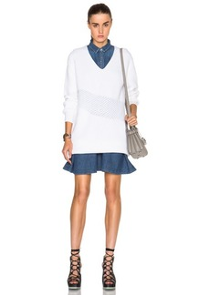 KENZO Wool Blend Rib & Honeycomb Stitch Sweater Dress