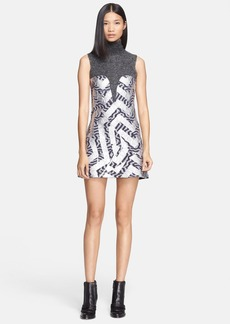 KENZO Foiled Stripe Boiled Wool Blend Turtleneck Dress