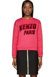 Kenzo Fuchsia Flocked Logo Tech Sweatshirt