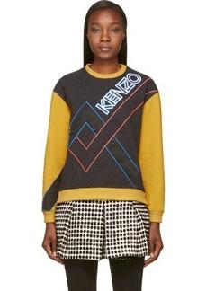 Kenzo Grey & Yellow Cotton Flannel Logo Sweatshirt