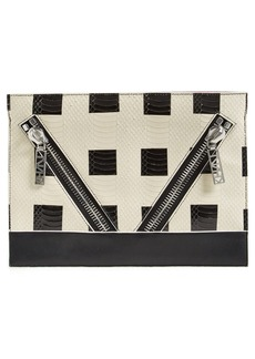KENZO 'Kalifornia' Check Snake Embossed Clutch
