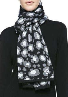 Kenzo Leopard Knit Scarf, Black/Gray