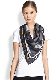KENZO Leopard-Print Wool Scarf