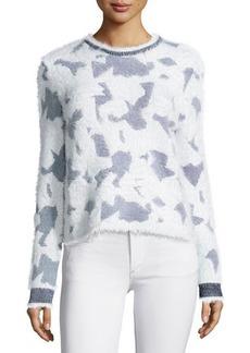 Kenzo Long-Sleeve Jewel-Neck Sweater, White
