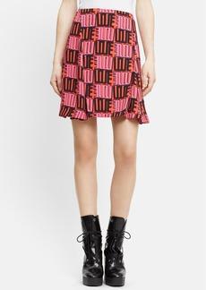 KENZO 'Love' Print Crepe Skirt