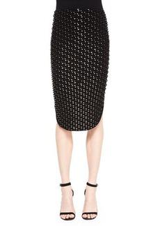 Kenzo Metallic Tube Knit Pencil Skirt, Black