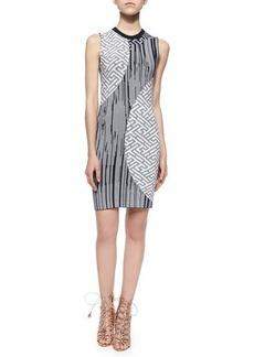 Kenzo Mixed-Print Knit Sheath Dress