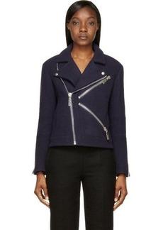Kenzo Navy Wool Biker Jacket