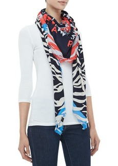 Kenzo New Tiger Head & Stripes Scarf, Blue/Red/Black