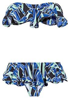 KENZO Palm-print ruffled bandeau bikini