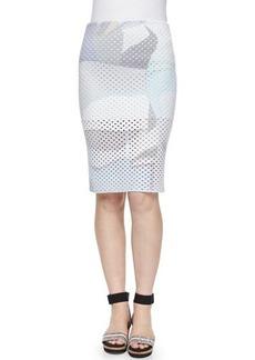 Kenzo Paper-Print Perforated Pencil Skirt