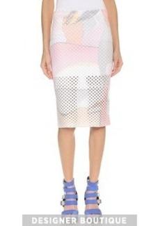 KENZO Paper Printed Mesh Pencil Skirt