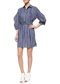 Kenzo Pinstripe Balloon-Sleeve Shirtdress  Pinstripe Balloon-Sleeve Shirtdress