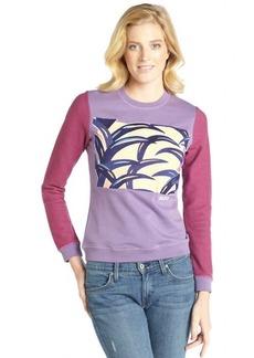 Kenzo purple cotton palm leaf embroidered sweatshirt