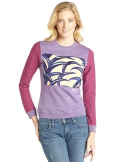 Kenzo purple cotton palm leaf embroidered sweatshirt