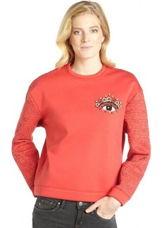 Kenzo red stretch knit embellished eye sweatshirt