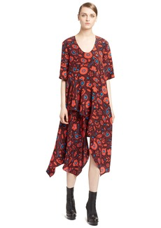 KENZO Shadow Flower Asymmetric Silk Jacquard Dress
